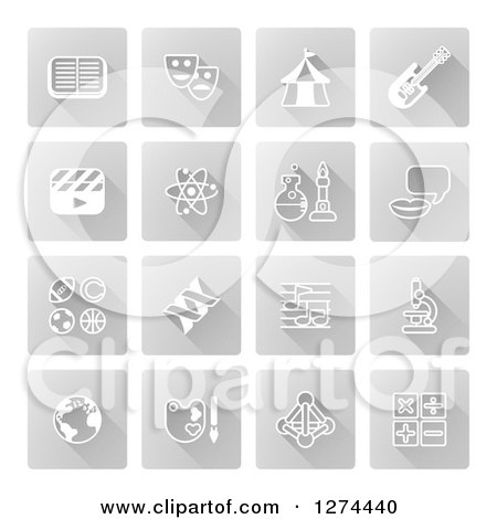 Clipart of White Educational Subject Icons on Gray Squares - Royalty Free Vector Illustration by AtStockIllustration