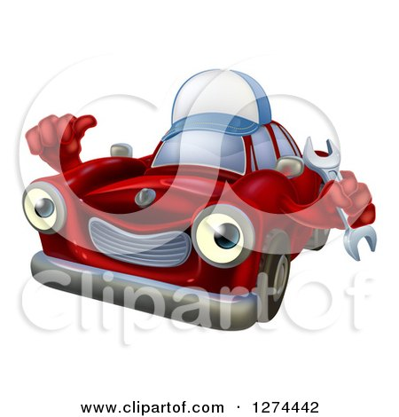 Clipart of a Happy Red Car Character Wearing a Hat, Holding a Wrench and Thumb up - Royalty Free Vector Illustration by AtStockIllustration