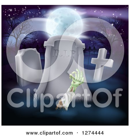 Clipart of a Halloween Background of a Zombie Hand Rising out from a Grave in a Cemetery Under a Full Moon - Royalty Free Vector Illustration by AtStockIllustration