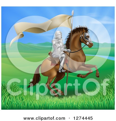 Clipart of a Horseback Medieval Knight in Armor, Riding with a Banner in a Lush Landscape Ona Rearing Horse - Royalty Free Vector Illustration by AtStockIllustration