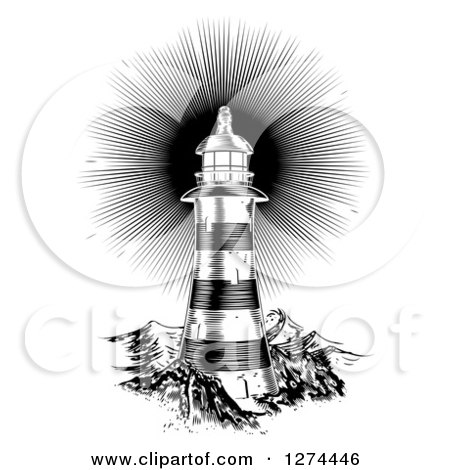 Black and White Shining Engraved Lighthouse Posters, Art Prints