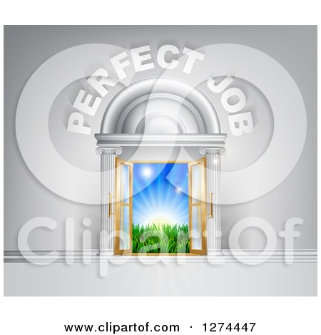 Clipart of a Venue Entrance with Perfect Job Text Leading to a Sunrise - Royalty Free Vector Illustration by AtStockIllustration