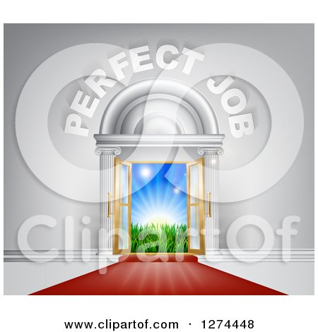 Clipart of a Venue Entrance with Perfect Job Text and Red Carpet Leading to a Sunrise - Royalty Free Vector Illustration by AtStockIllustration