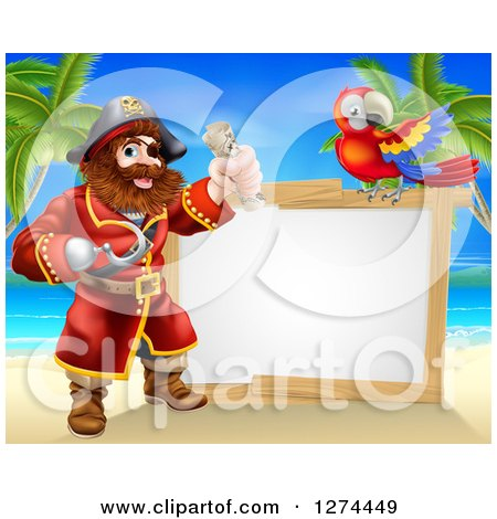 Clipart of a Hook Handed Pirate Captain Holding a Treasure Map by a Blank Sign with a Parrot on a Beach - Royalty Free Vector Illustration by AtStockIllustration