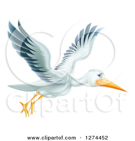 Clipart of a Happy Stork Bird Flying to the Right - Royalty Free Vector Illustration by AtStockIllustration