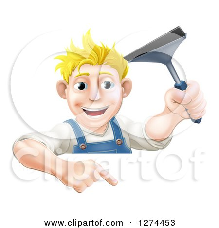Clipart of a Happy Blond Caucasian Window Cleaner Man Holding a Squeegee and Pointing down over a Sign - Royalty Free Vector Illustration by AtStockIllustration