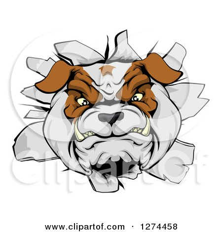 Clipart of a Tough Bulldog Breaking Through a Wall - Royalty Free Vector Illustration by AtStockIllustration
