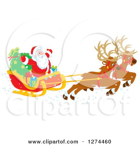 Clipart of Two Magic Christmas Reindeer Flying Santa Claus in His Sleigh - Royalty Free Vector Illustration by Alex Bannykh