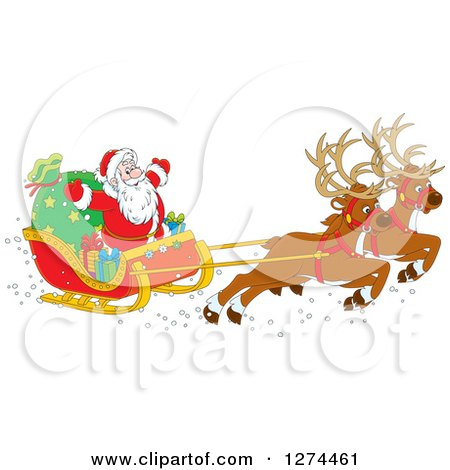 Clipart of Two Magic Christmas Reindeer Flying Santa in His Sleigh - Royalty Free Vector Illustration by Alex Bannykh