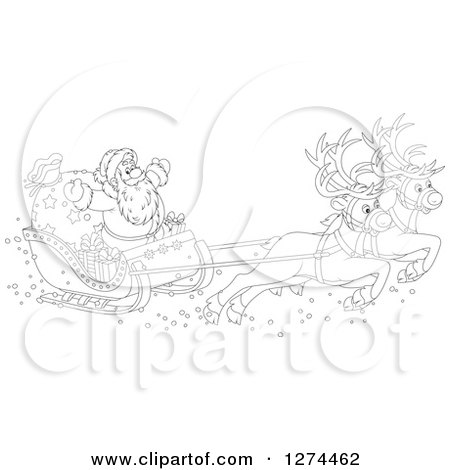 Clipart of Black and White Two Magic Christmas Reindeer Flying Santa in His Sleigh - Royalty Free Vector Illustration by Alex Bannykh