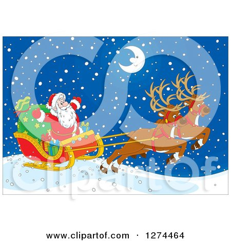 Clipart of Two Magic Christmas Reindeer Flying Santa in His Sleigh on a Snowy Winter Night with a Happy Crescent Moon - Royalty Free Vector Illustration by Alex Bannykh