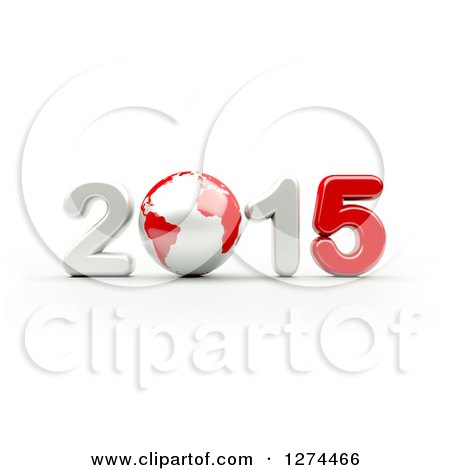 Clipart of a 3d Year 2015 and Earth in Red and White, on a White Background - Royalty Free Illustration by chrisroll