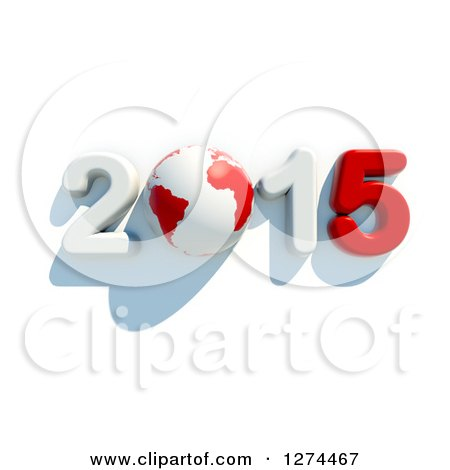 Clipart of a 3d Year 2015 and Earth in Red and White, with a Shadow on a White Background - Royalty Free Illustration by chrisroll