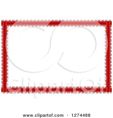 Clipart of a Striped Blue Red and White Christmas Border - Royalty Free Vector Illustration by vectorace