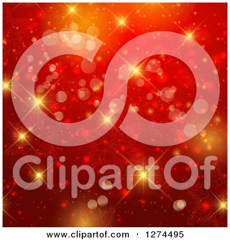 Clipart of a Red Christmas Bokeh Snowflake and Flare Background - Royalty Free Illustration by KJ Pargeter
