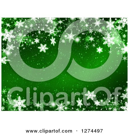 Clipart of a Green Christmas Background with Snowflakes - Royalty Free Illustration by KJ Pargeter