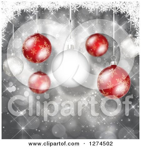 Clipart of a Christmas Background of 3d Red and White Suspended Baubles over Silver with Bokeh - Royalty Free Illustration by KJ Pargeter