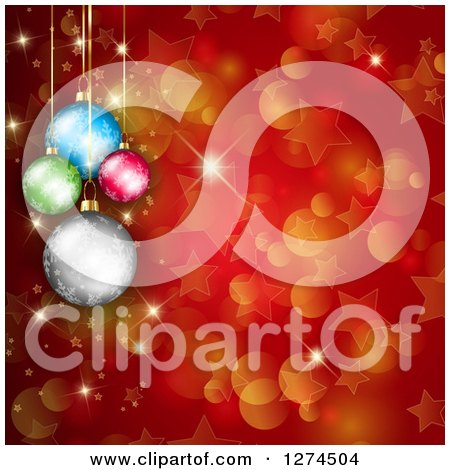 Clipart of a Christmas Background of Suspended Colorful Baubles over Red with Bokeh and Stars - Royalty Free Illustration by KJ Pargeter