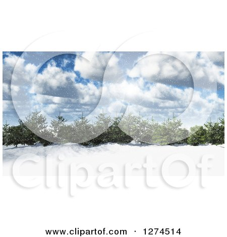 Clipart of a 3d Grove of Evergreen Trees in a Snowy Landscape on a Sunny Day with Clouds and Flares - Royalty Free Illustration by KJ Pargeter