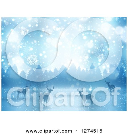 Clipart of a Background of Silhouetted Alert Deer in the Snow Against Trees - Royalty Free Vector Illustration by KJ Pargeter