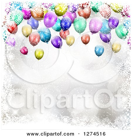 Clipart of a Background of 3d Colorful Party Balloons with Snowflakes and Flares - Royalty Free Vector Illustration by KJ Pargeter