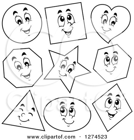 Clipart of black and white happy shapes royalty free for Black and white shapes