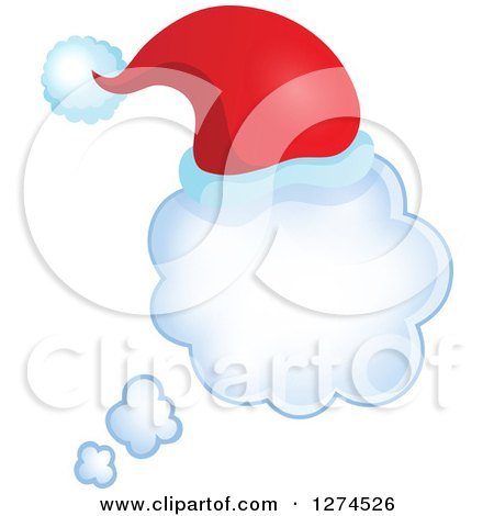 Clipart of a Christmas Santa Hat on a Thought Bubble - Royalty Free Vector Illustration by visekart