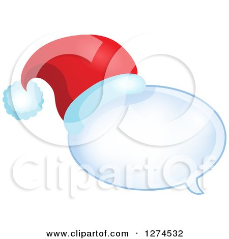 Clipart of a Christmas Santa Hat on a Speech Bubble 2 - Royalty Free Vector Illustration by visekart