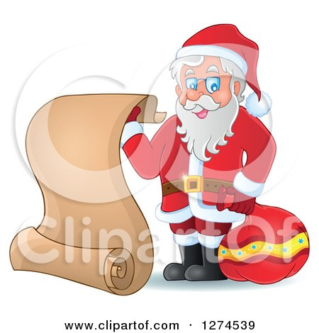 Clipart of a Christmas Santa Claus Holding a Sack and Scroll List - Royalty Free Vector Illustration by visekart