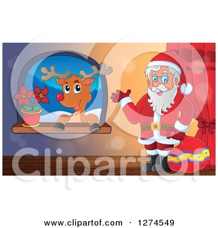 Clipart of a Christmas Santa Claus Holding a Sack and Waving by a Window with a Reindeer - Royalty Free Vector Illustration by visekart