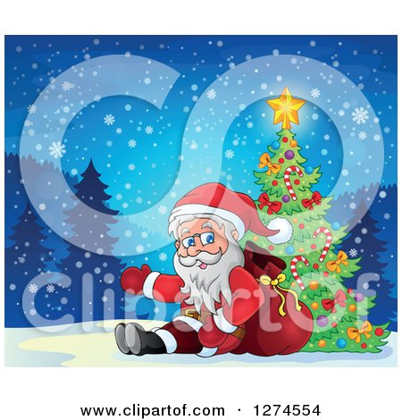Clipart of Santa Claus Sitting Against a Sack and Presenting by a Christmas Tree on a Snowy Night - Royalty Free Vector Illustration by visekart