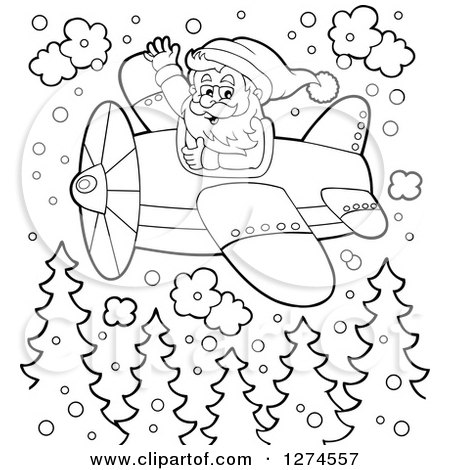 Clipart Of A Black And White Christmas Santa Claus Flying A Plane In
