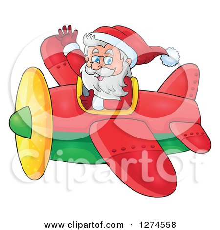Clipart of a Christmas Santa Claus Flying a Plane and Waving - Royalty Free Vector Illustration by visekart