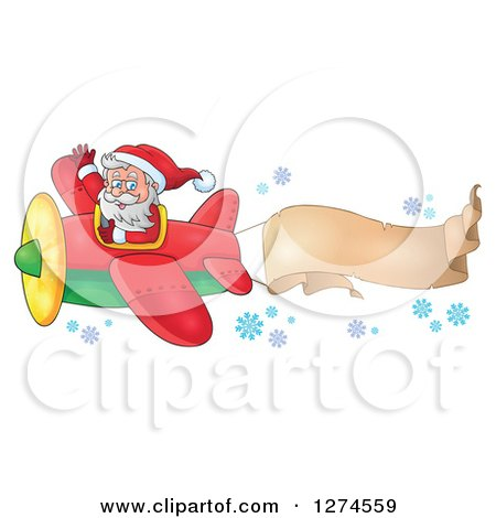 Clipart of a Christmas Santa Claus Flying a Plane and Waving with a Trailing Banner - Royalty Free Vector Illustration by visekart