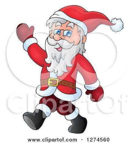 Clipart of a Christmas Santa Claus Walking and Waving - Royalty Free Vector Illustration by visekart