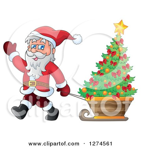 Clipart of Santa Claus Waving and Pulling a Christmas Tree in a Sleigh - Royalty Free Vector Illustration by visekart