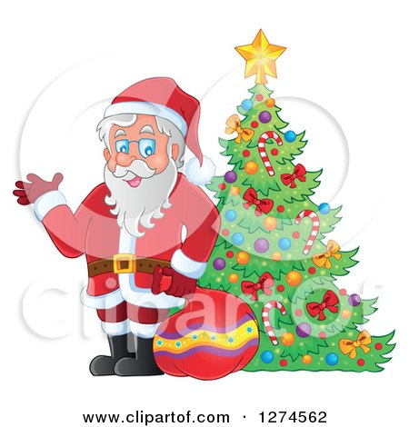 Clipart of Santa Claus Holding a Sack and Waving by a Christmas Tree - Royalty Free Vector Illustration by visekart
