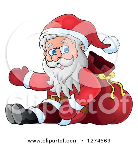 Clipart of a Christmas Santa Claus Sitting Against a Sack and Presenting - Royalty Free Vector Illustration by visekart