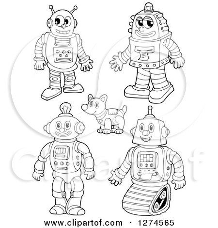 Clipart of Black and White Robots and Dog - Royalty Free Vector Illustration by visekart