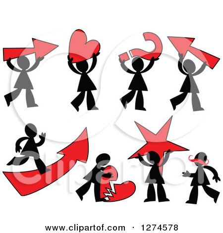 Clipart of Black Silhouetted Men with Red Items - Royalty Free Vector Illustration by Prawny