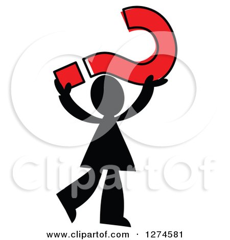 Clipart of a Black Silhouetted Man Holding up a Red Question Mark - Royalty Free Vector Illustration by Prawny
