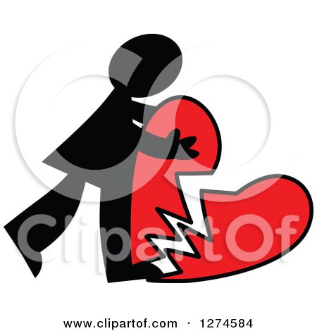 Clipart of a Black Silhouetted Man Hugging a Broken Red Heart - Royalty Free Vector Illustration by Prawny