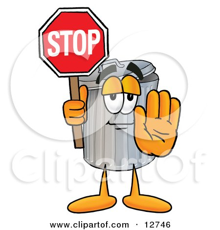 Clipart Picture of a Garbage Can Mascot Cartoon Character Holding a Stop Sign by Toons4Biz