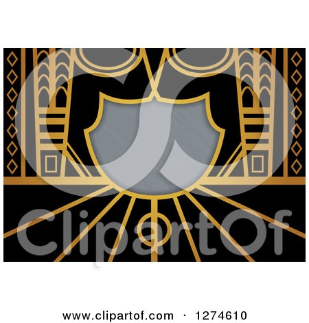 Clipart of a Gold and Black Retro Art Deco Background with Brushed Silver Metal Shield Text Space - Royalty Free Illustration by Prawny