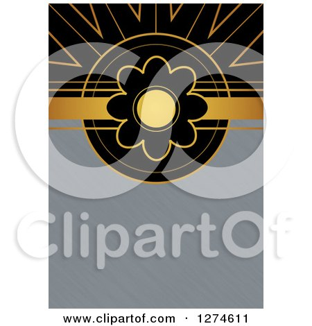 Clipart of a Gold and Black Retro Art Deco Daisy Flower Background with Brushed Silver Metal Text Space - Royalty Free Illustration by Prawny