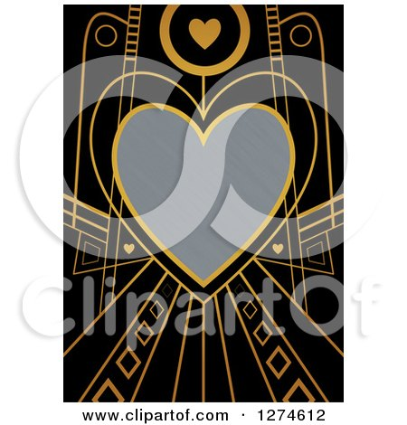 Clipart of a Gold and Black Retro Art Deco Heart Valentines Day Background with Brushed Silver Metal Text Space - Royalty Free Illustration by Prawny