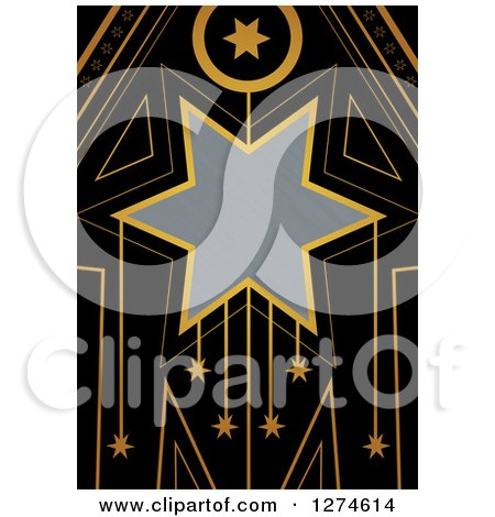 Clipart of a Gold and Black Retro Art Deco Star Background with Brushed Silver Metal Text Space - Royalty Free Illustration by Prawny