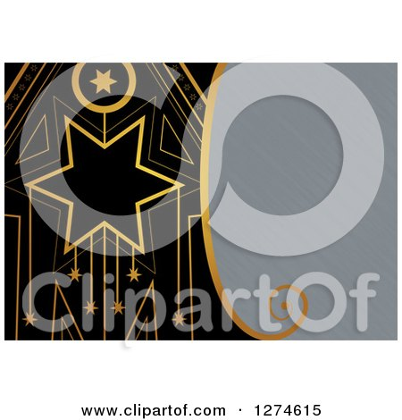 Clipart of a Gold and Black Retro Art Deco Star Background with Brushed Metal Text Space - Royalty Free Illustration by Prawny