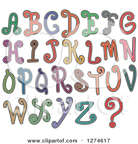Clipart of Colorful Curly Styled Capital Alphabet Letters - Royalty Free Vector Illustration by Prawny