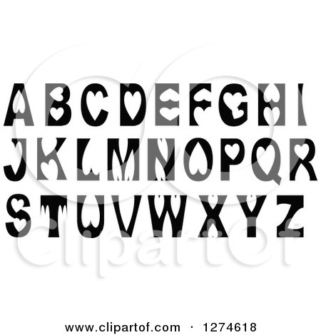 black and white capital alphabet letters with heart elements